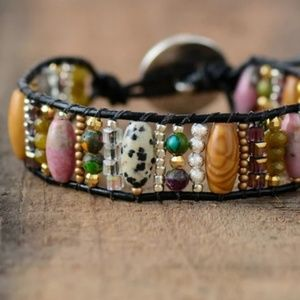 Natural Stone Genuine Leather Cuff Wrap Bracelet